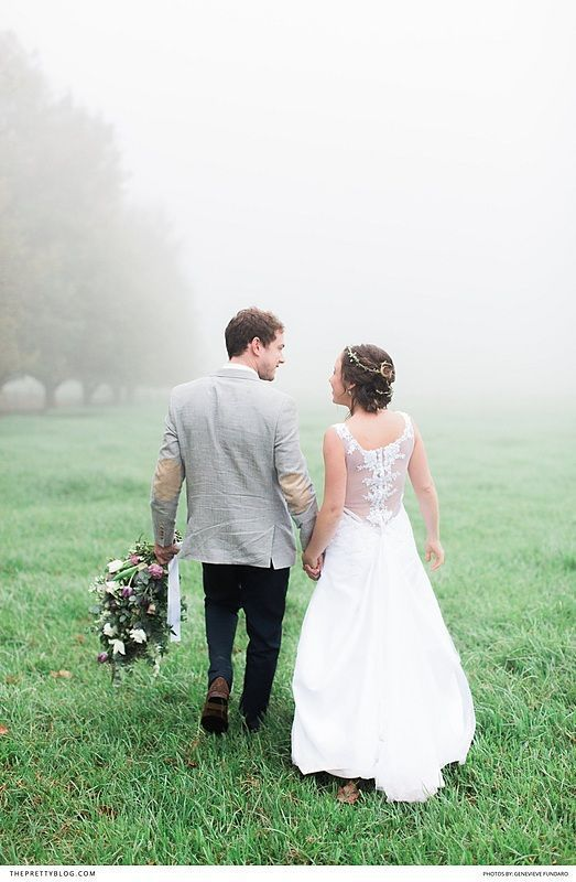 A Misty Wedding Couple Shoot With Bold Bouquet And Simplistic Dress Lace