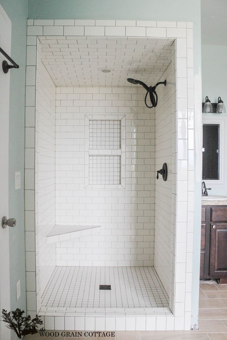 master bathroom renovation is moving right along! subway tiled shower