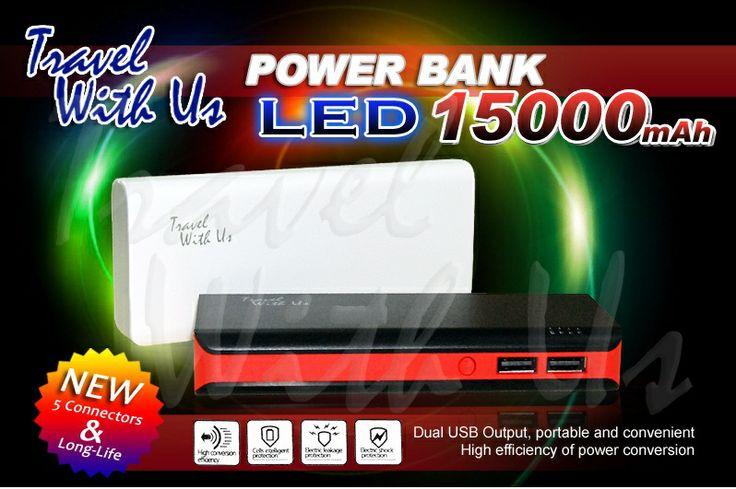 PowerBank TWU LED 12000mAh, Only Rp 2888.000,- *not include shipping cost  - Berbahan plastik abs (ringan dan tahan panas) - Memiliki 2 output port USB, 1,0A untuk pengisian ulang handphone/ smartphone, Android, BlackBerry, IPhone, PSP, MP3 Player, camera pocket dll, dan port 2,1 A untuk pengisian ulang tablet/ IPad - Kabel adapter dilengkapi dengan 5 connector - Dapat digunakan untuk epengisan ulang 2 device sekaligus  - 4 lampu LED sebagai indikator kapasitas battery & saat pengisian ulang
