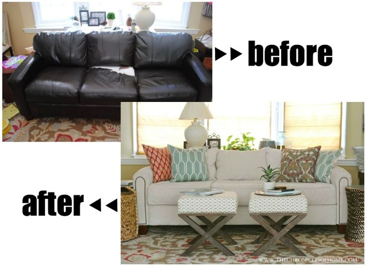 DIY Reupholstered Sofa. Leather Sofa DecorLeather Couch DecoratingBrown ...