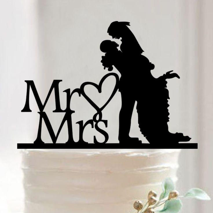 Жених и невеста Торт Топпер Акриловые Силуэт Свадебный Торт Топпер Свадебный Торт Топпер Торт Декор Г-Жа & Г-Жа.