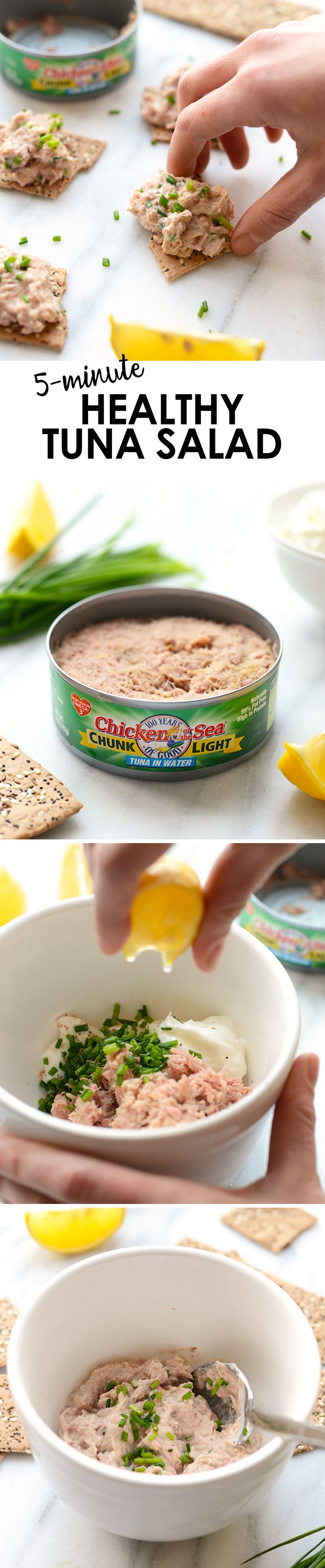 All you need is 4 ingredients and 5 minutes to make this Healthy Tuna Salad that's low carb and fat and packed with protein!
