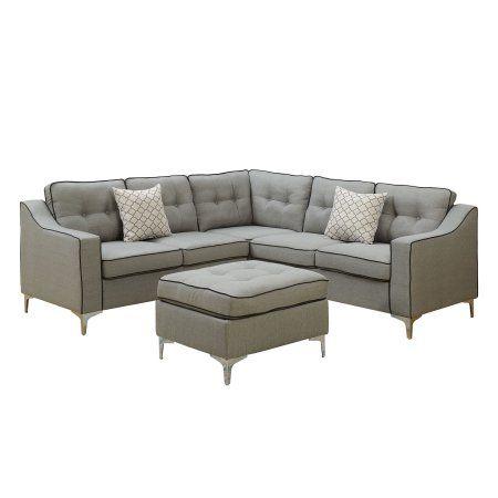 Bobkona Effie Linen-like Polyfabric Sectional Set with Ottoman in Light Grey., Gray