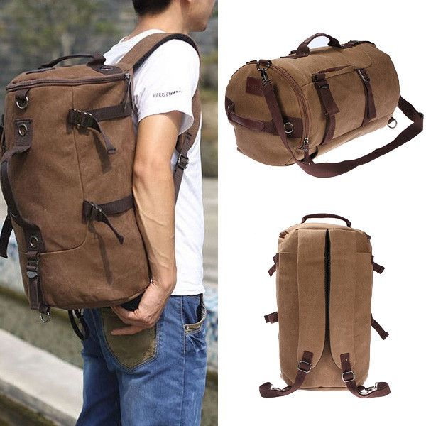 "Vintage Canvas Travel Backpack Rucksack Camping Hiking Bag Specifications: Color:coffee Material:High quality cotton canvas Size:46 cm(18.1"")x27 cm(10.6"")x27 cm"