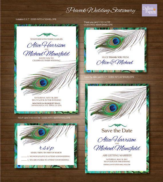 Peacock Feather Wedding Printables Customized Wedding Invitation