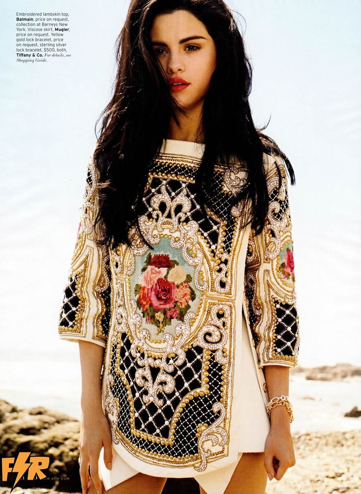 Selena Gomez on the cover of this month's Elle. The tunic is FAR more interesting than she is...lol...