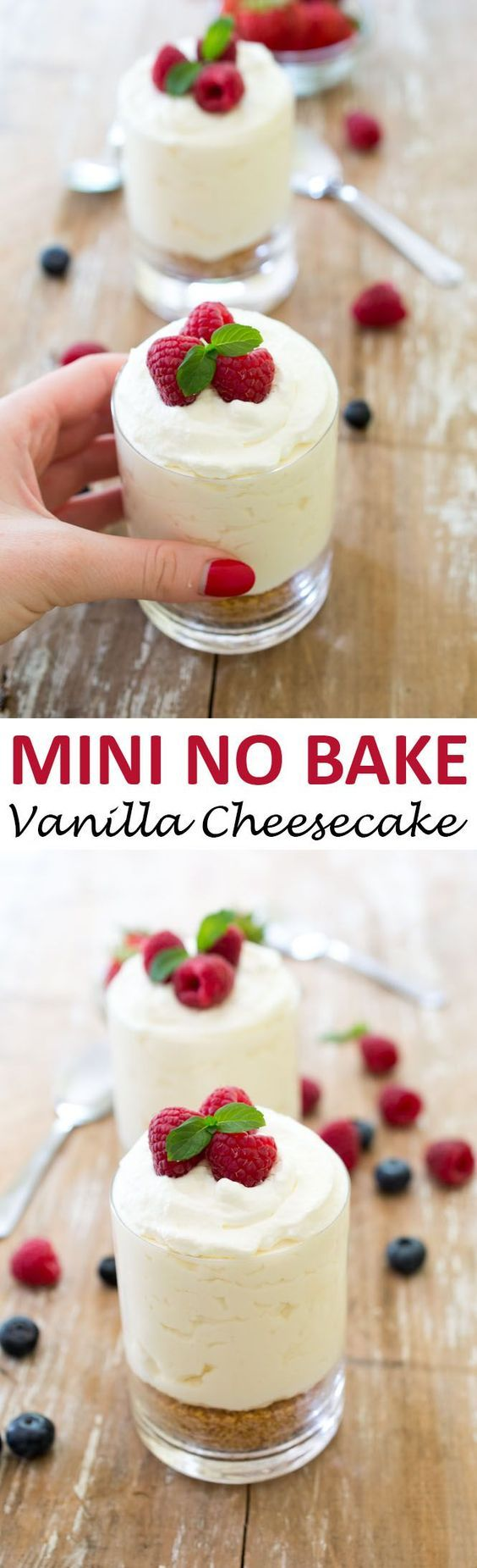 Individual No Bake Vanilla Cheesecake. A super easy no bake dessert that takes less than 15 minutes prep time and only 7 ingredients! | chefsavvy.com #recipe #vanilla #cheesecake #mini #nobake #dessert: