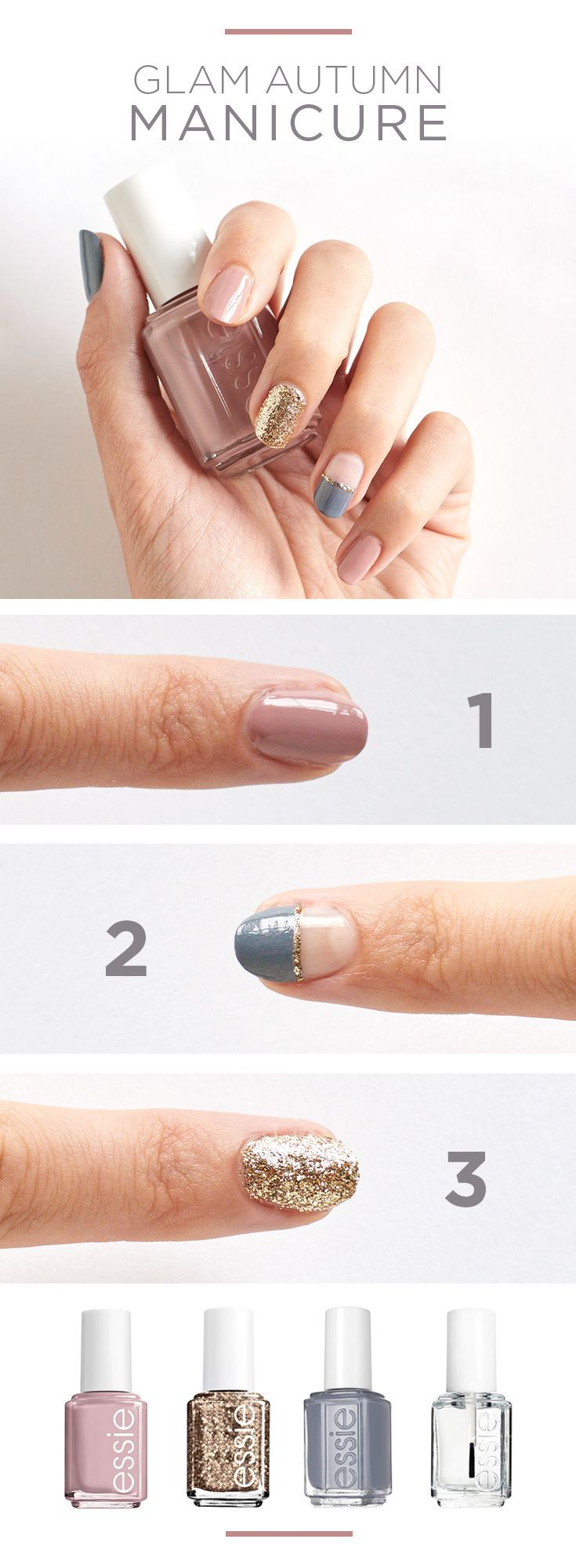 Change of seasons means a change of manis, right? Go for something a little more glam this fall with a colorblocked manicure in muted autumn colors. Featured essie nail polish colors: Ladylike pink, Summit of Style gold, Petal Pushers grey and clear top coat. Find your fall colors at Kohl's.