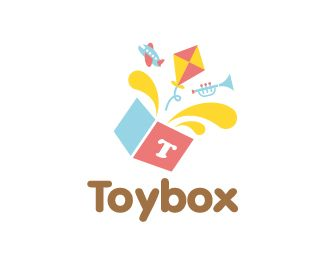 Toy Box Logo design - This colorful logo which features toys splashing out of the box to signify fun and excitement. It is suitable for toy store, baby retails, children's development courses, blog for children, children's game apps, nursery, gift shop or any business / products related to kids. Price $350.00