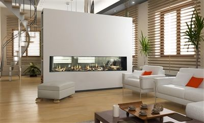 Get the custom look with Colorado Hearth & Home   |  Flare Linear See Thru Frameless Modern Fireplace