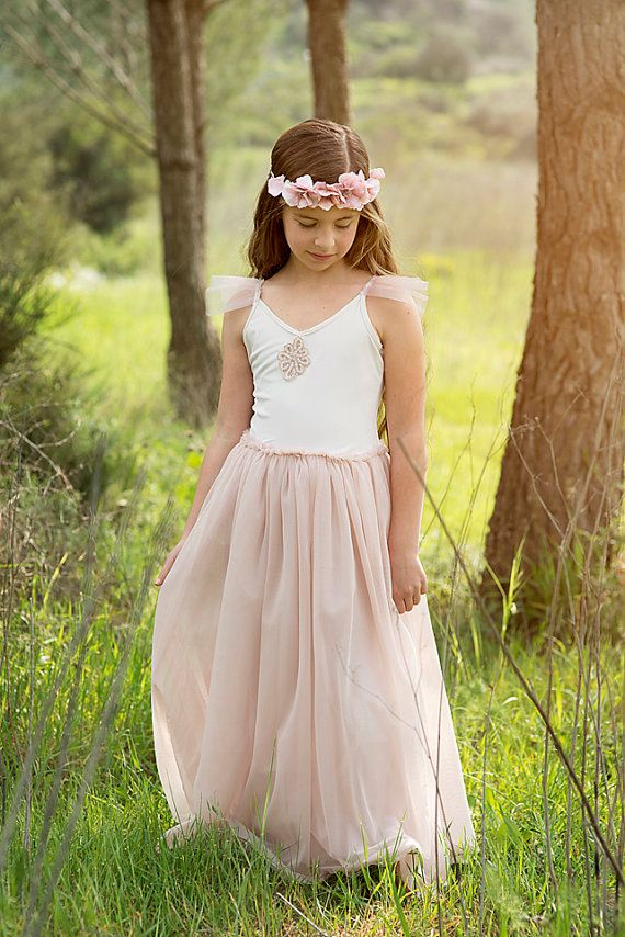 4bceca7b11c K - but knee length Maxi Blush Pink Flower Girls Dress Flower Girl  DressWedding