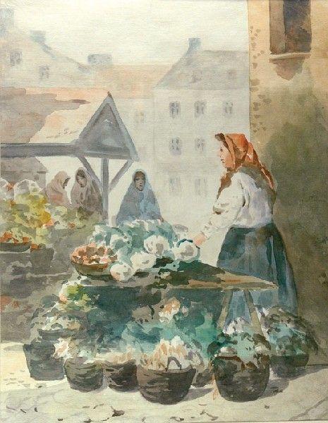 Erno ERB (1890 - 1943)  Przekupki akwarela, papier, 43 x 33,5 cm (w świetle oprawy) sygn. p. d.: E Erb