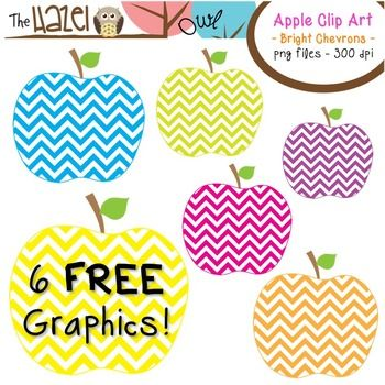 FREE Bright Chevron Apple Clip Art!!