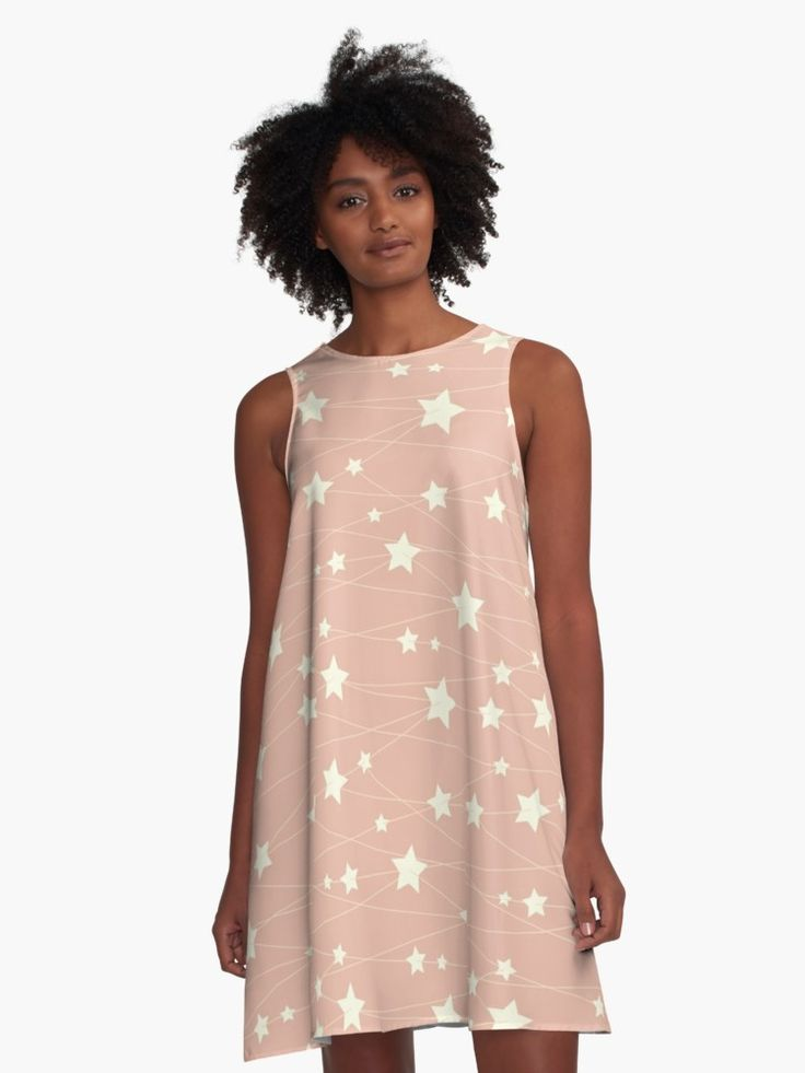 Hanging Stars - ashy pink by LunaPrincino  #redbubble #print #prints #art #design #designer #graphic #clothes #for #women #apparel #shopping #dress #fashion #style #pattern #texture #pretty #cute #beautiful #girlish #dreamy #hanging #stars #ashy #pink #and #cream #beige #fantasy #starry #pale #pastel #magic #gift #idea #trend #summer #spring