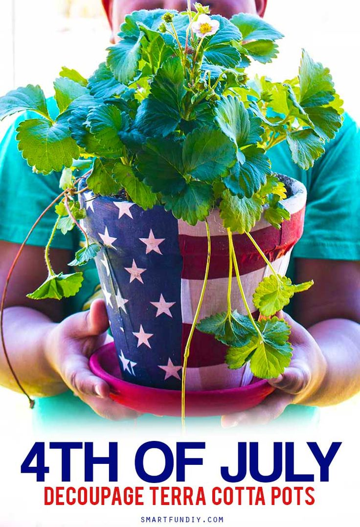Scored an amazing deal on a bunch of terra cotta pots at @99centsonly so I made a bunch of DIY terra cotta pot ideas. Like did you know you can DECOUPAGE fabric onto terra cotta? YASSS! Get 3 patriotic DIY terra cotta pot ideas at http://www.smartfundiy.com/4th-of-july-diy-terra-cotta-pot/ P.S. that bandanna from #99CentsOnly is my fave right now! #DoingThe99 #99YourFourth [AD]