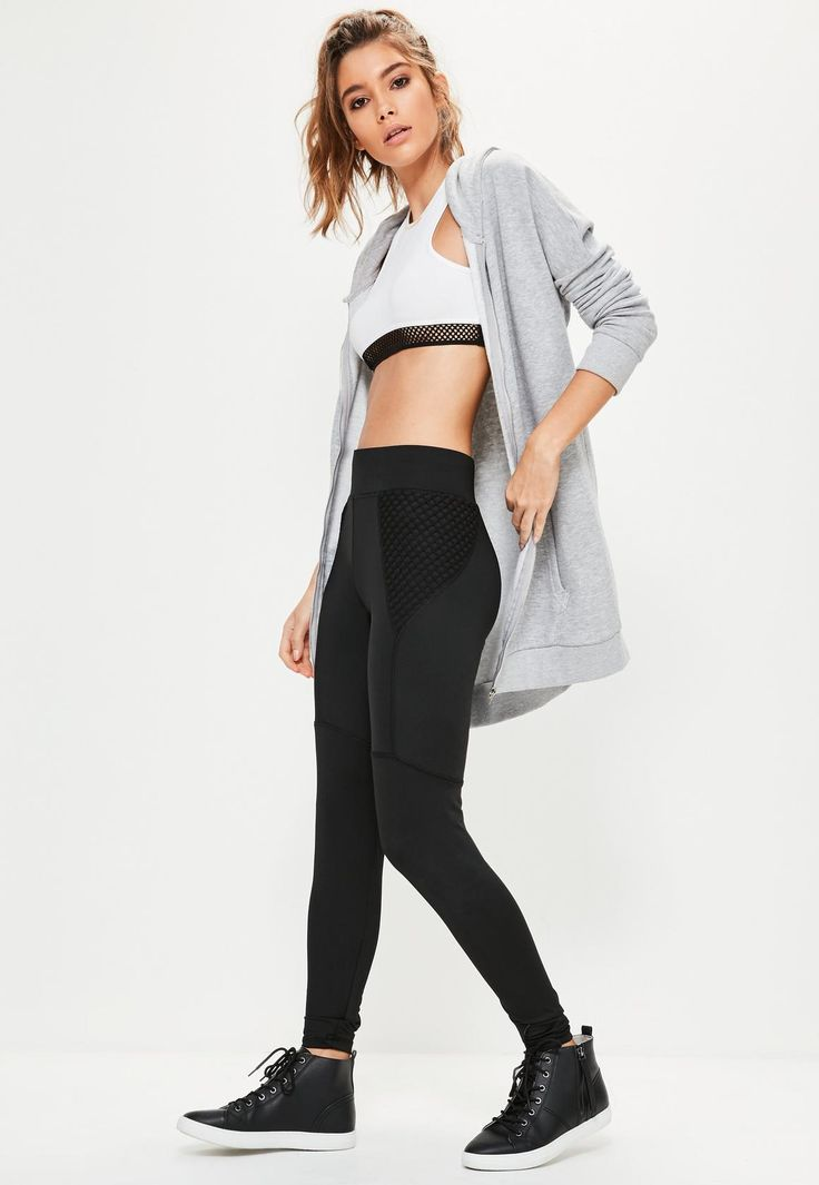 rock your work out with the fishnet side panel work out leggings