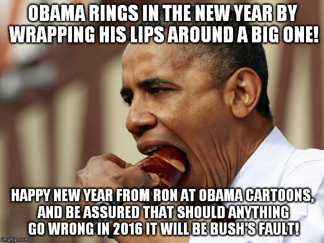 Obama Rings in the New Year and assures Nation that should anything go wrong, it's Bush's Fault | OBAMA CARTOONS