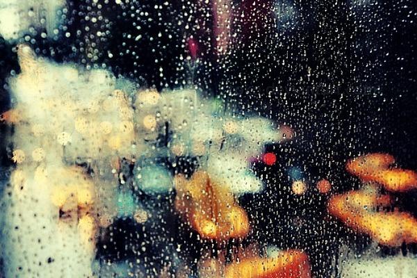 the city on a rainy day.