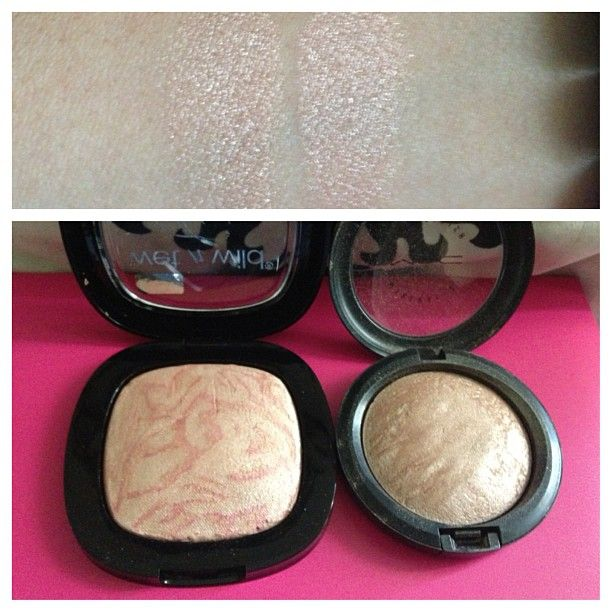 For those who don't want to spend $27 on MAC MSF in soft and gentle I have a drug store dupe!!! WNW fergie center stage collection A045 Rose Champagne Glow only 5.99 plus u can get $1off coupon at Walgreens #mac #dupe #dupes #makeup #highlighter - @dglamnails- #webstagram