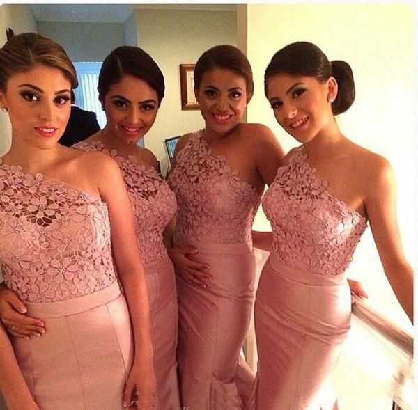 Wholesale cheap evening dress online, all size - Find best pink lace bridesmaid dresses 2014 mermaid one shoulder floor length long taffeta wedding party blush dresses free shipping prom dresses at discount prices from Chinese bridesmaid dress supplier on DHgate.com.