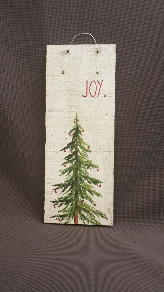 Hand painted Christmas Decorations, Joy,Christmas Reclaimed Wood Pallet Art, Joy, Pine tree, Red Christmas decorations, upcycled shabby chic