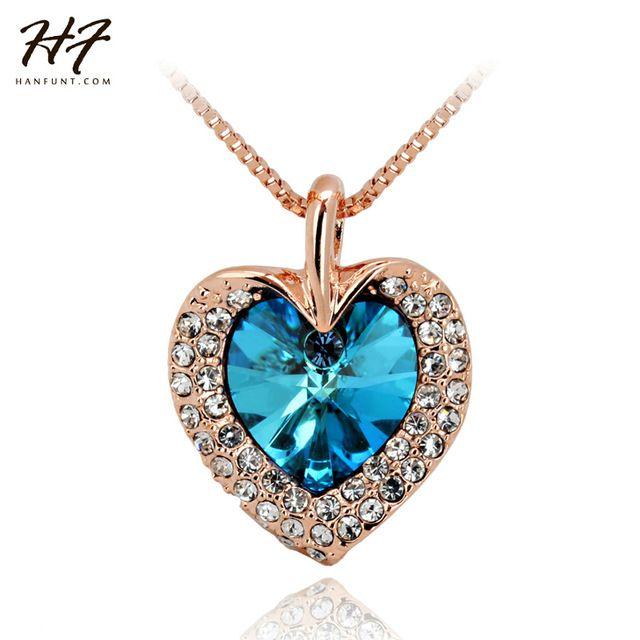 Розовое Золото Цвет Сердце Океана Австрийской Синий Кристалл Кулон Ожерелье N116