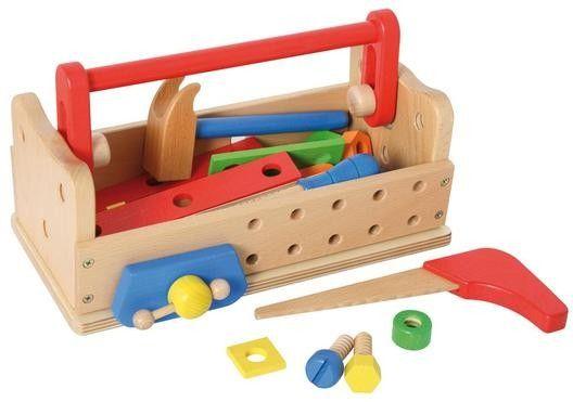 Werkzeugkasten und Werkbank in einem. Aus Massivholz.    Mit sehr viel Zubehör. 32 Teile Werkzeug, Schrauben, Nägel, Muttern, Beilagscheiben.