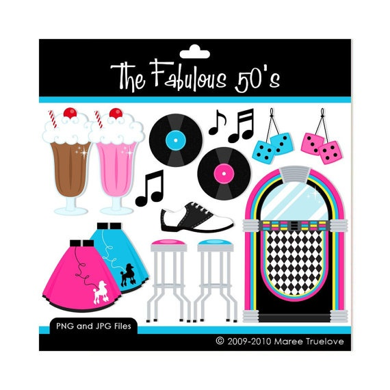 The Fabulous 50's Clipart - Digital Clip Art Graphics for Personal or Commercial Use   K's 10th ...
