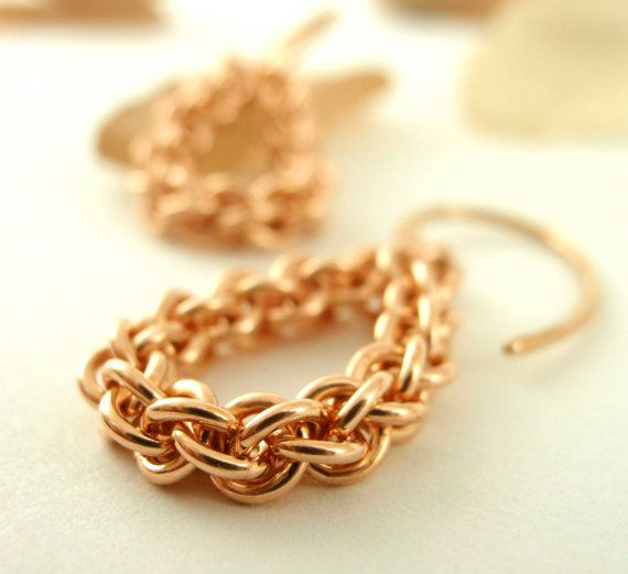 Teardrop Bronze Chain Earrings - Jens Pind Chainmaille - These intricate earrings are lightweight and versatile....looking great with jeans or a fancy-shmancy dress!