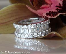 Brillanten Memory Ring mit Baguette Diamanten