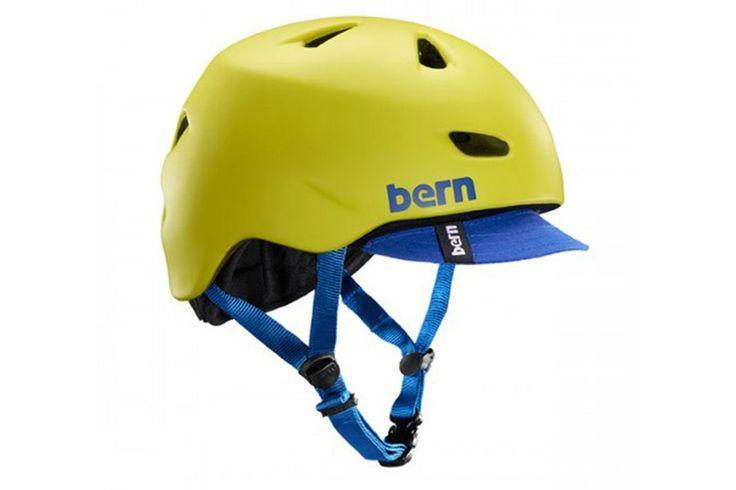 Bern Brentwood Helm  Mat Geel  Bicycle Brentwood Helm:  Berns exclusive Zipmold foam is een vloeibaar schuim injectieproces dat een betere gewicht tegenover kracht biedt zodat Bern je een lichtere low profiel helm biedt.  Zipmold hard foam meets ASTM F 2040 CPSC en 1078 standaarden voor fiets en skate.  De Brentwood is Berns populairste helm voor mannen met een verwijderbar vizier (patent #US D572880 S) zonnebril kanalen en een luchtstroom om je koel te houden .  Urban messengers zoals Kevin…