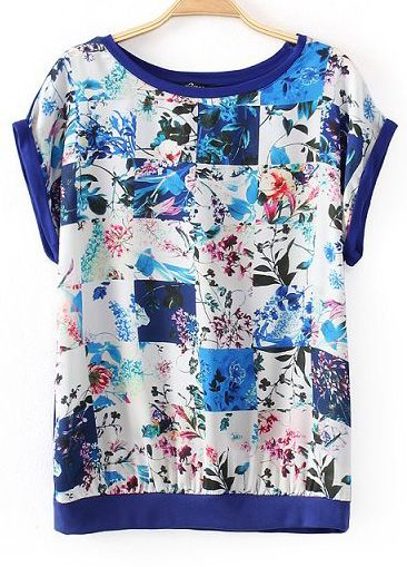Blue Batwing Sleeve Florals Print T-shirt US$21.33
