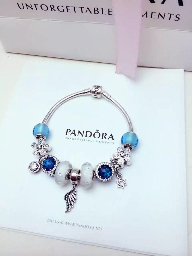 $279 Pandora Charm Bracelet Blue White. Hot Sale!
