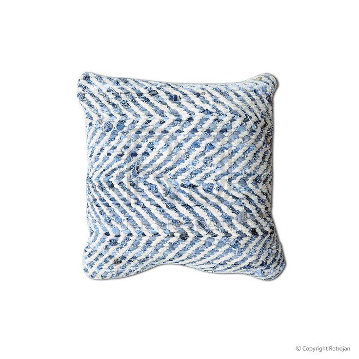 Sandy Recycled Denim & Chenille Cushion | $29.00