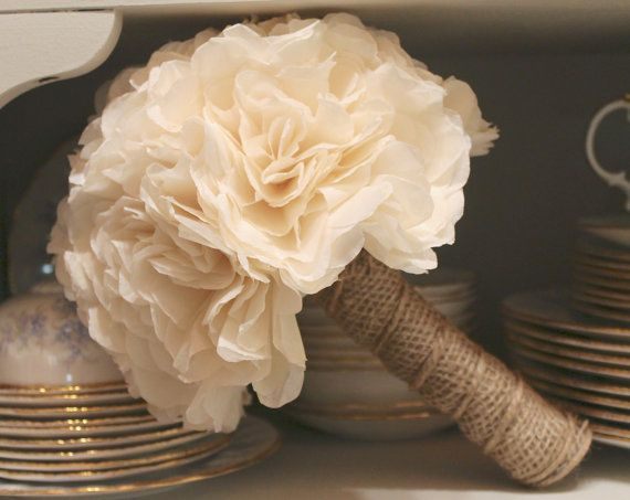 Ivory and Burlap Bridal Bouquet - Rustic - Country Wedding - Summer - Autumn