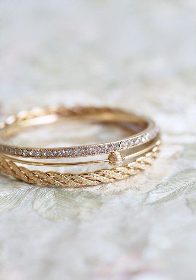 Feelings Of Adoration Gold Bangles | Modern Vintage Jewelry | Modern Vintage Accessories | Modern Vintage Bridal