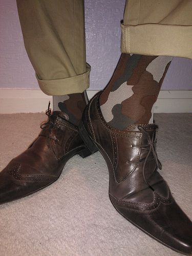Adrian for men camo tights, Dockers chinos, Hudson brown pointy brogue style lace-up shoes   look at This Collection of Best of Designer Fashion Sneakers here http://mylovelyproduct-2.blogspot.com/2014/12/bestofdesignerfashionsneakers.html