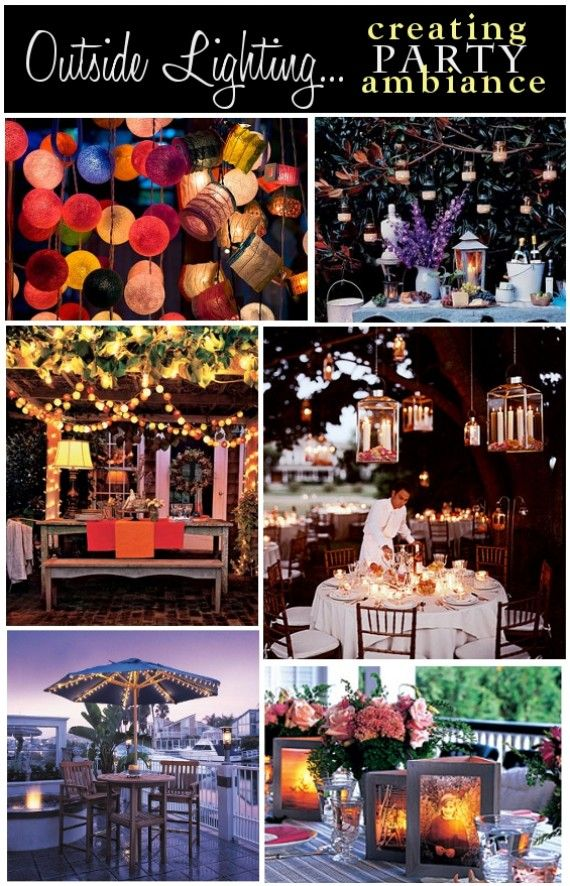 Outdoor lighting ideas from pizzazzerie. Paper Lanterns, candles, string lights!