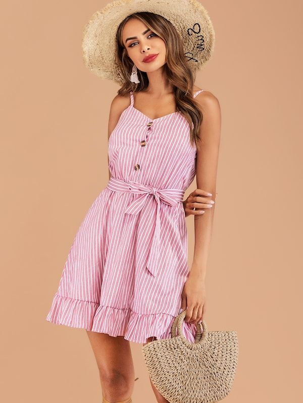 2dd7d2ff87 Striped Ruffle Hem Belted Cami Dress, 2019 | Best 20 Short Dresses ...