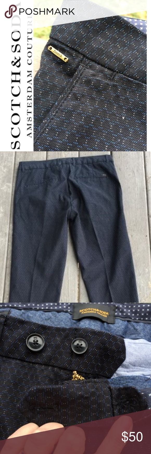 """Scotch & Soda 32x32 Mott super skinny chinos EUC Scotch & Soda 32x32 Men's Mott super skinny chinos.  EUC  Beautiful condition!!!!!!  Black with a blue and white octagon print.  Bottom of pant tapers down to 6 1/2"""" across. Scotch & Soda Pants Chinos & Khakis"""