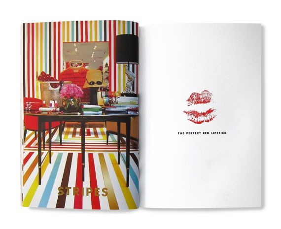 "Great balance! Kate Spade's over-the-top striped shop is a perfect complement for a simple white sheet with a red lipstick smooch (from the Kate Spade ""Things We Love"" inspiration book)"