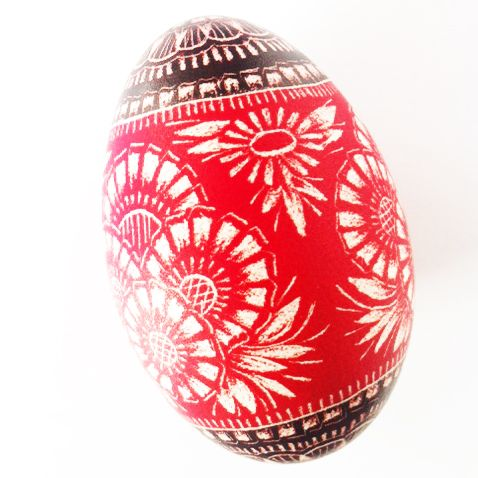 """Pisanki - egg made in Poland by folk artist from Opoczno. It is scratched by hands. In polish called """"kraszanka""""."""