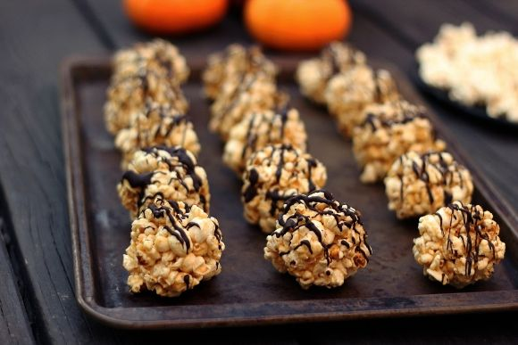 Dark Chocolate Drizzled Popcorn Balls (Gluten & Dairy-Free) - Free People Clothing Boutique Blog