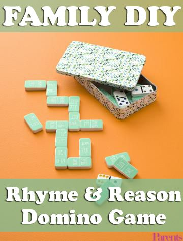 It's Family DIY time! Turn reading into a game with this family-friendly Rhyme and Reason Domino Game. Cover the back of each domino with tape, write two non-rhyming words from your child's vocabulary list on each domino, then try to match the ones that rhyme. (Like Scrabble, but with rhyming!)
