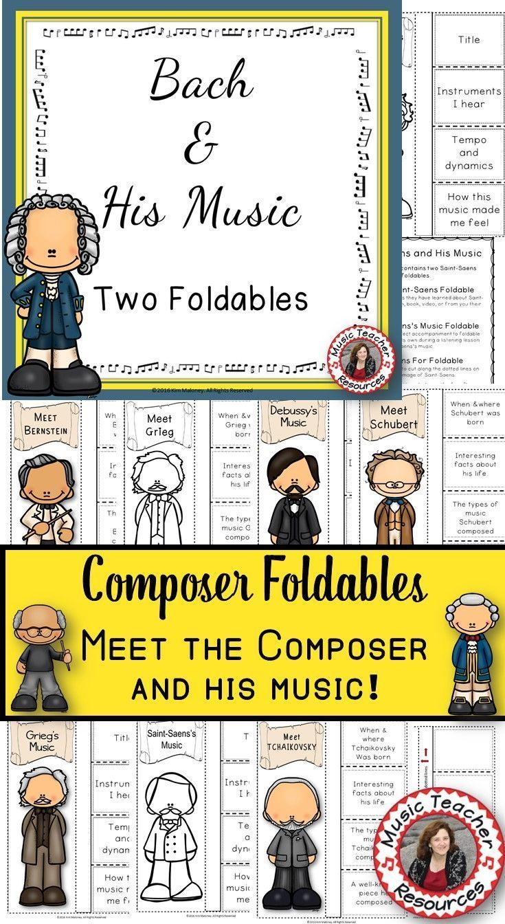Over 30 composers!!!! ♫ Instructions on how to assemble the foldable is also included! ♫ Excellent addition to your Composer of the Month! ♫ Completed foldables can be pasted into student workbooks/listening journals OR displayed on a bulletin board. CLICK through to see them all or save for later! ♫ | #musiceducation #elmused