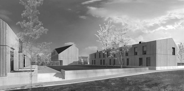 OPERASTUDIO - Project - Social housing in Switzerland - view #render #spring #housing #nopeople #black&white
