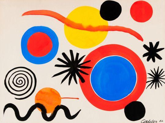 Alexander Calder (USA 2898-2976) Blue, White, and Red Target (1966) gouache 58 x 78 cm