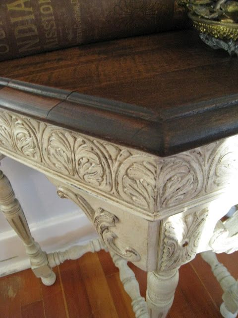 Base painted with chalk paint and top stained with Jacobean Minwax
