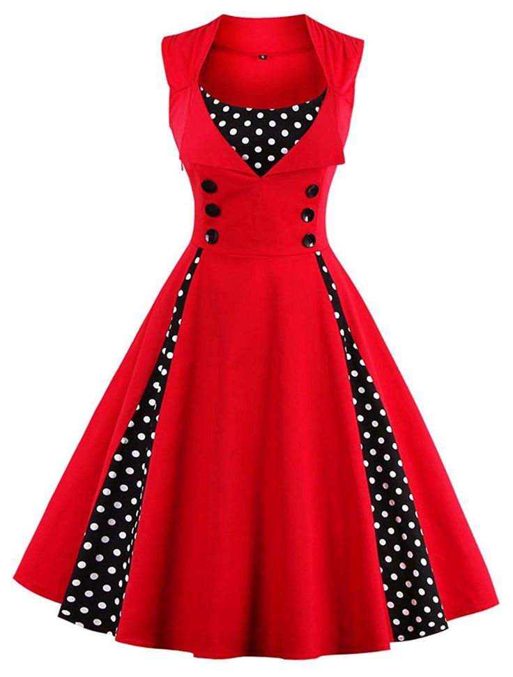 Tina Silvergray 1950s Polka Dots Patchwork Sleeveless Swing Dress at Amazon Women's Clothing store:  https://www.amazon.com/gp/product/B01MCYQJG3/ref=as_li_qf_sp_asin_il_tl?ie=UTF8&tag=rockaclothsto-20&camp=1789&creative=9325&linkCode=as2&creativeASIN=B01MCYQJG3&linkId=1f44a1661d1dd7920a700b8e95b0d0e8