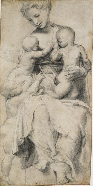 Raphael (Raffaello Sanzio) (or copy after), 1483-1520, Italian, Charity, 16th century. Black chalk heightened with white on off-white paper, 31.3 x 15.2 cm. Ashmolean Museum, Oxford. High Renaissance.